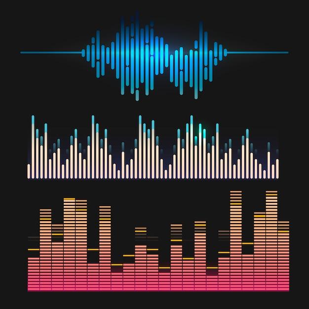 Kleurrijke geluidsgolf equalizer vector ontwerpset Gratis Vector