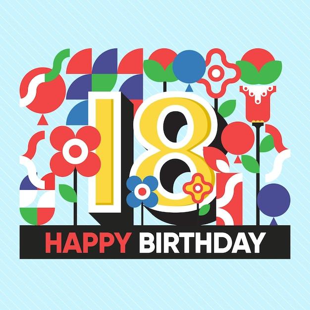 Kleurrijke gelukkige 18e verjaardag achtergrond Gratis Vector
