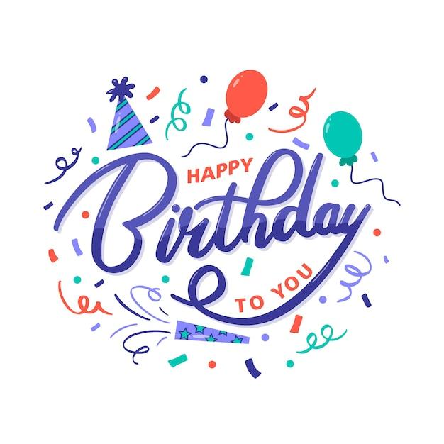 Kleurrijke gelukkige verjaardag aan u groet Gratis Vector