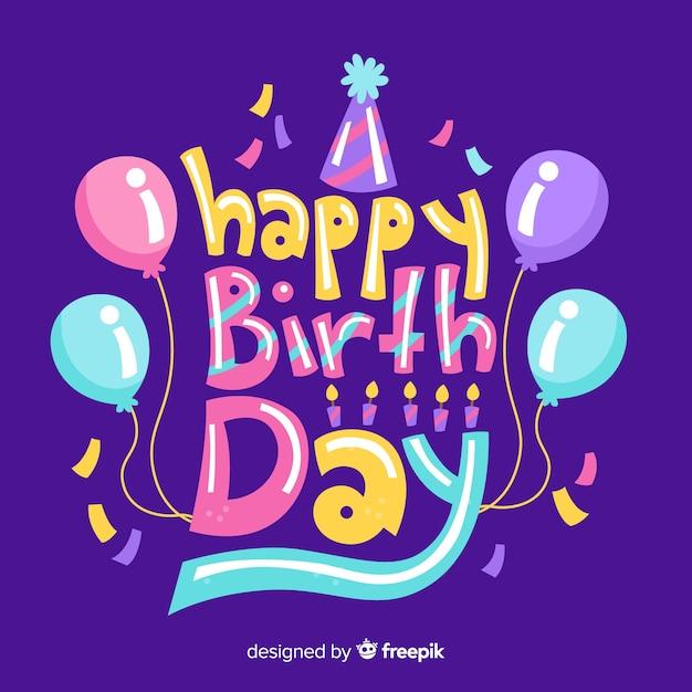 Kleurrijke gelukkige verjaardag belettering Gratis Vector