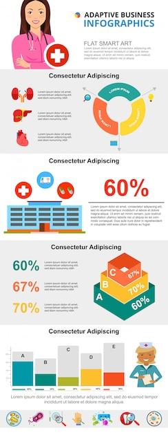 Kleurrijke geneeskunde of gezondheidszorg infographic grafieken instellen Gratis Vector