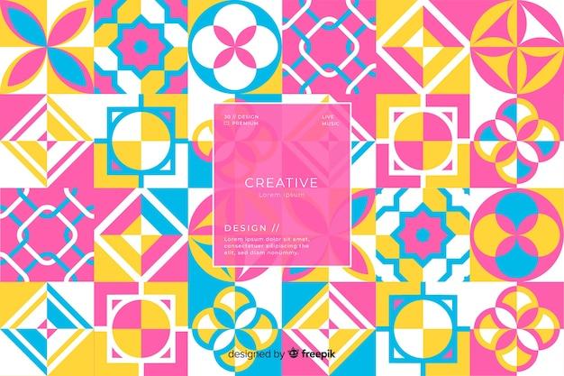 Kleurrijke geometrische mozaïektegels achtergrond Gratis Vector