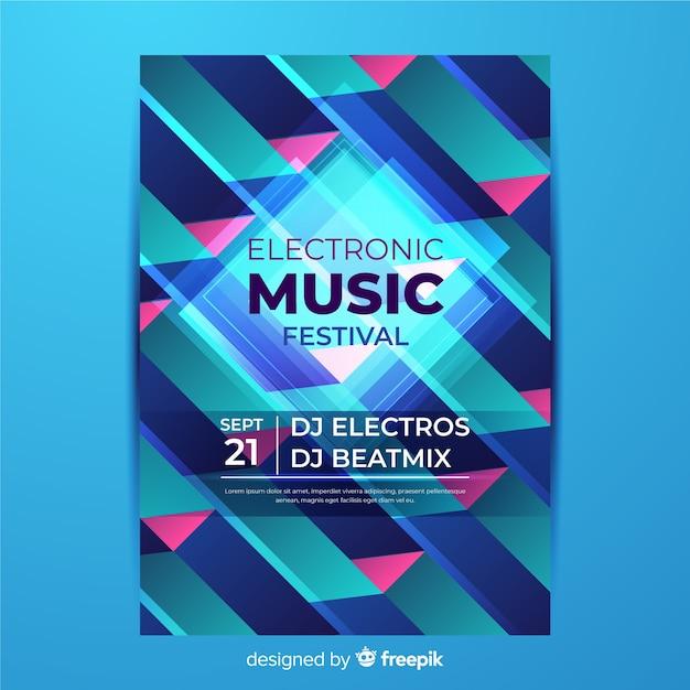 Kleurrijke geometrische muziek poster sjabloon Gratis Vector