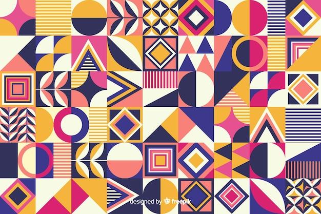 Kleurrijke geometrische vorm mozaïek achtergrond Gratis Vector