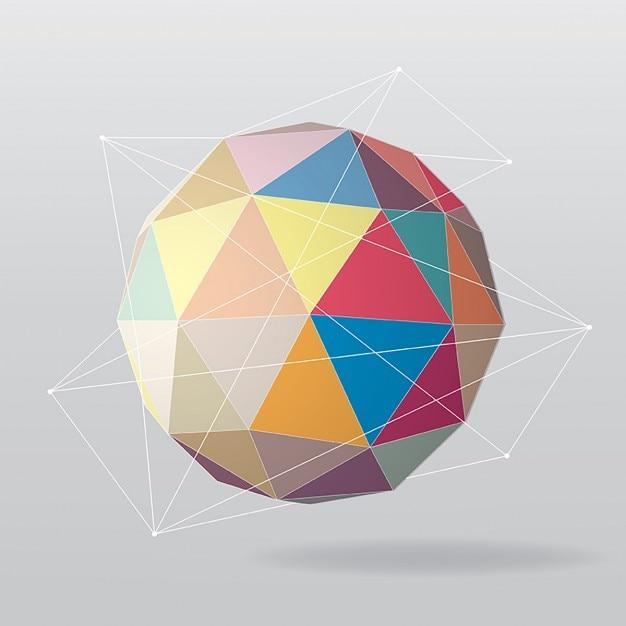 Kleurrijke geometrische wereldbol Gratis Vector