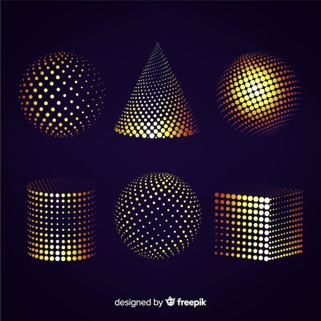 Kleurrijke geplaatste deeltjes 3d geometrische vormen Gratis Vector