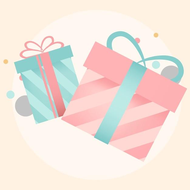 Kleurrijke geschenkdoos ontwerp vectoren Gratis Vector