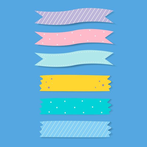 Kleurrijke gevormde plakband vectorreeks Gratis Vector