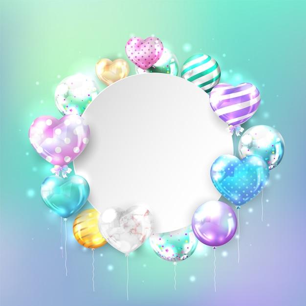 Kleurrijke glanzende ballonnen met kopie ruimte in hartvorm op pastel achtergrond voor verjaardag en feest kaart. Gratis Vector