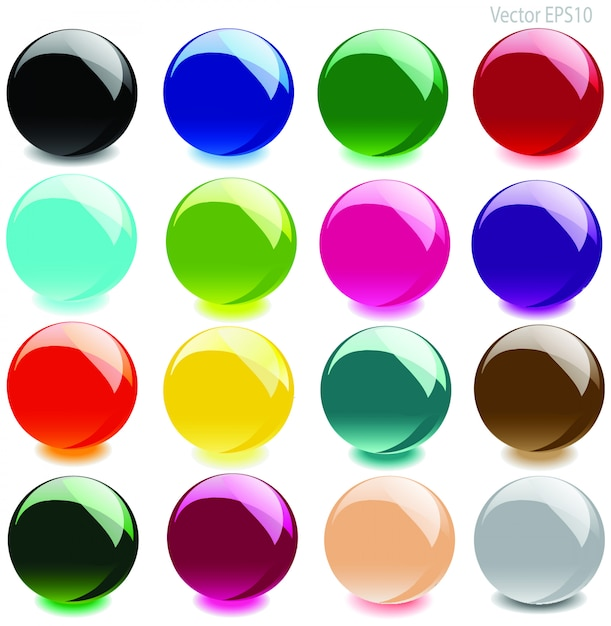 Kleurrijke glanzende glazen bol vector Premium Vector