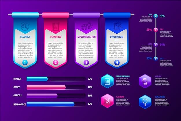 Kleurrijke glanzende infographic pack Gratis Vector