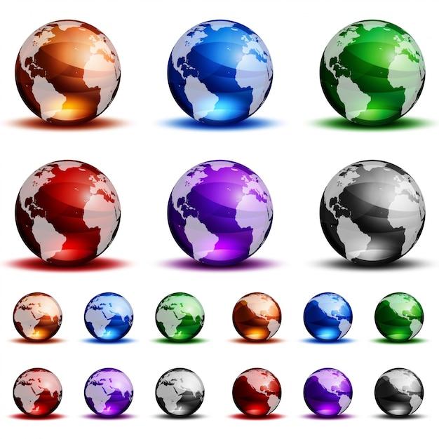Kleurrijke glazen bollen op witte achtergrond. Premium Vector