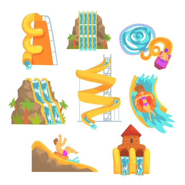 Kleurrijke glijbanen en buizen, aquapark apparatuur, set voor. cartoon gedetailleerde illustraties Premium Vector