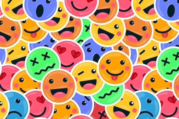 Kleurrijke glimlach emoticons patroon achtergrond Gratis Vector