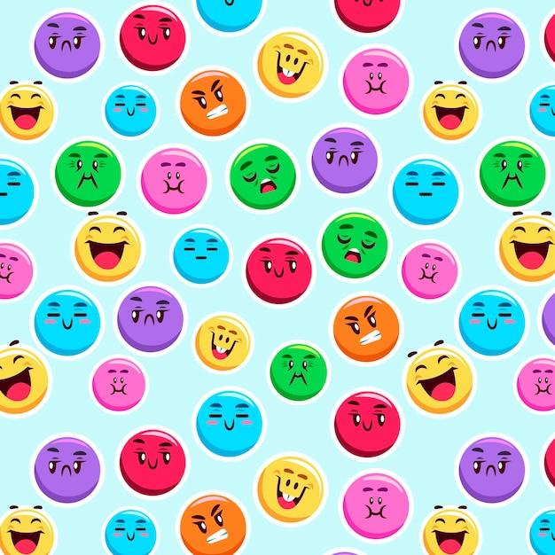 Kleurrijke glimlach emoticons patroon Premium Vector