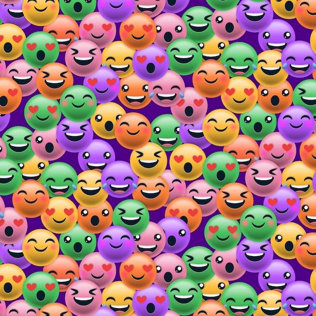 Kleurrijke glimlach emoticons patroon Gratis Vector