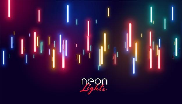 Kleurrijke gloeiende neonlichtenachtergrond Gratis Vector