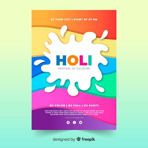 Kleurrijke golven holi festival partij poster Gratis Vector