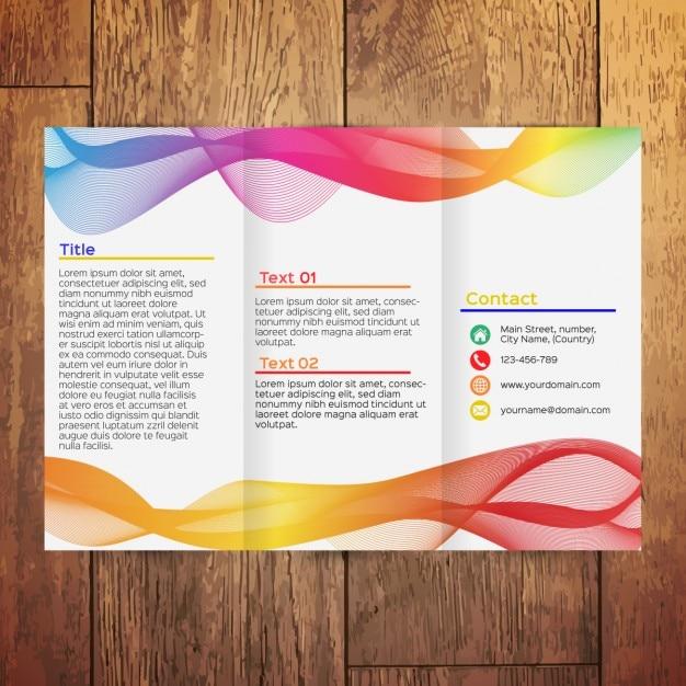 Kleurrijke golvende driebladige brochure Gratis Vector