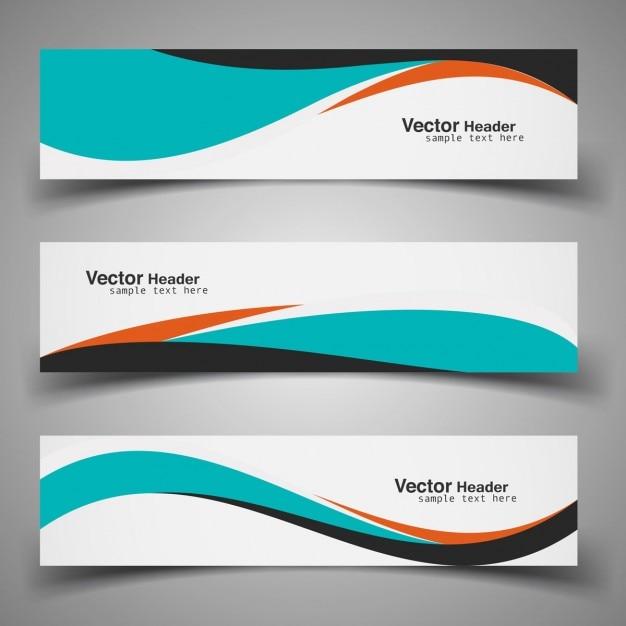 Kleurrijke golvende headers Gratis Vector