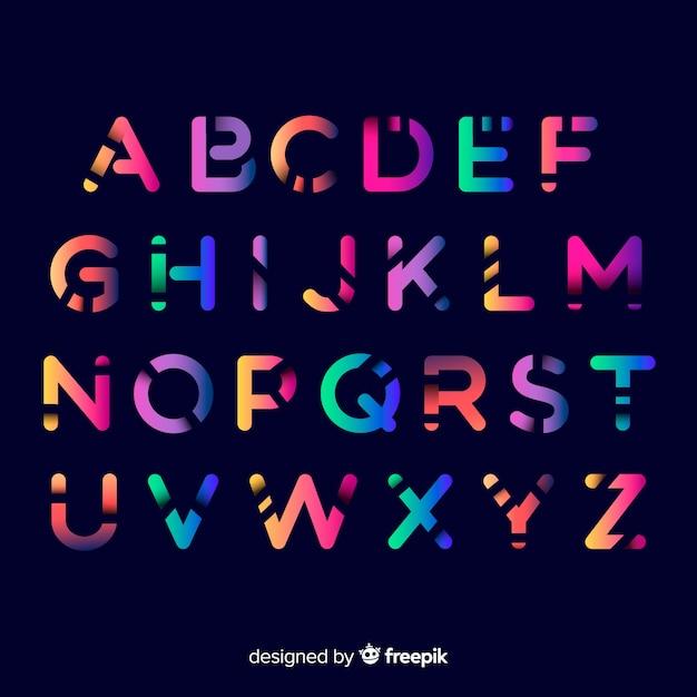 Kleurrijke gradiënt alfabet sjabloon Gratis Vector