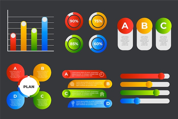Kleurrijke gradiënt infographic elementen Gratis Vector