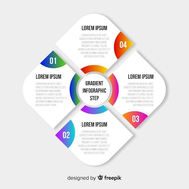 Kleurrijke gradiënt infographic stappen Gratis Vector