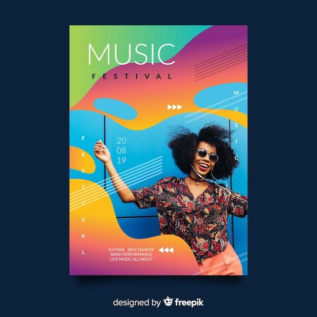 Kleurrijke gradiënt muziek festival poster Gratis Vector