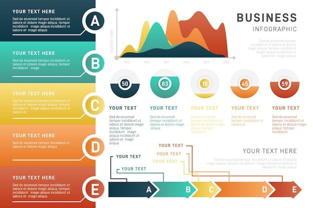 Kleurrijke gradiënt zakelijke infographic Gratis Vector