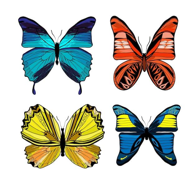 Kleurrijke grafische insecten die met verschillende soorten vlinders op wit worden geplaatst Gratis Vector