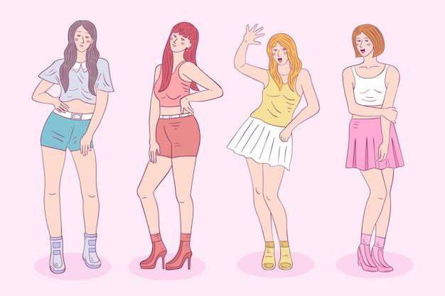 Kleurrijke groep k-pop meisjes Gratis Vector