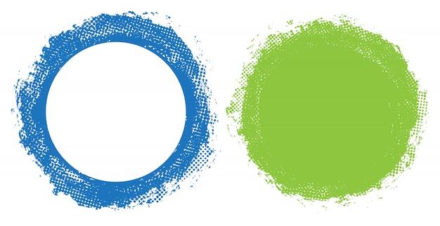 Kleurrijke grunge ronde geplaatste kaders Premium Vector