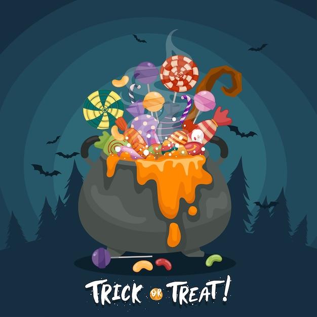 Kleurrijke halloween-snoepjes voor kinderen in een ketel, snoepjes versierd met halloween-elementen Gratis Vector