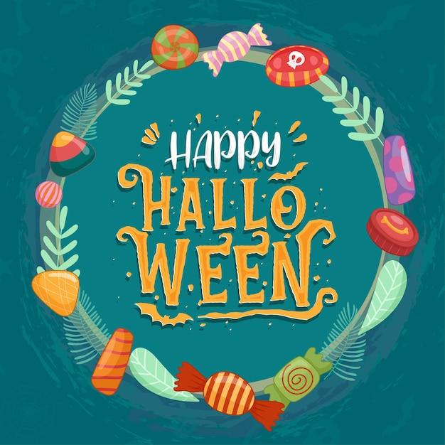 Kleurrijke halloween-snoepjes voor kinderen. snoepjes versierd met halloween-elementen Gratis Vector