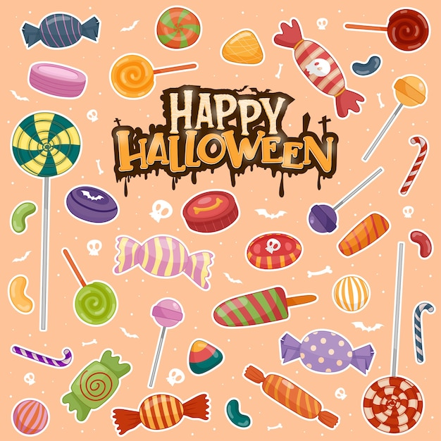 Kleurrijke halloween-snoepjes voor kinderen, snoepjes Gratis Vector