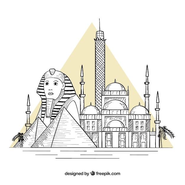 Kleurrijke hand getekend cairo skyline Gratis Vector