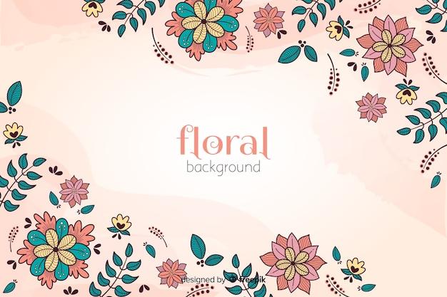 Kleurrijke hand getekend floral achtergrond Gratis Vector