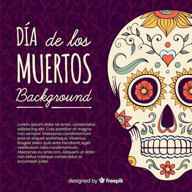 Kleurrijke hand getekende día de muertos achtergrond Gratis Vector