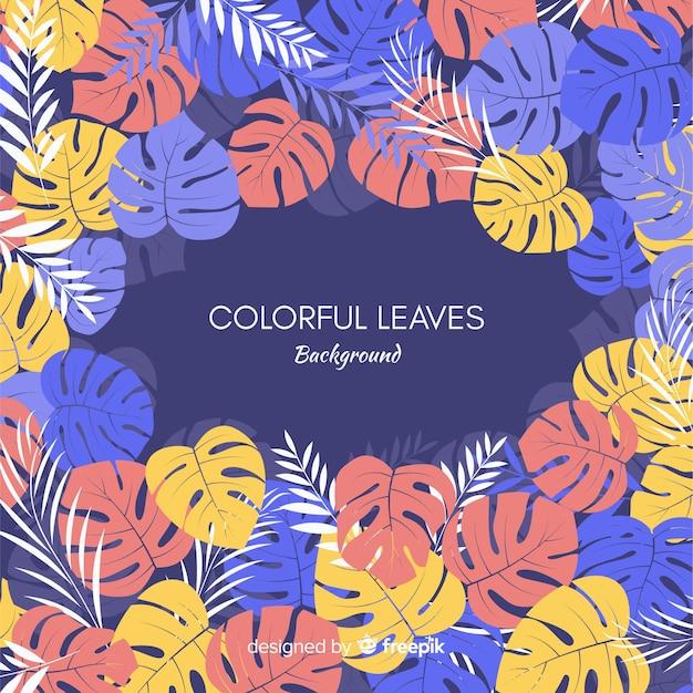 Kleurrijke hand getrokken bladeren achtergrond Gratis Vector