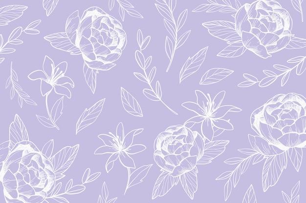 Kleurrijke hand getrokken bloemenachtergrond Gratis Vector