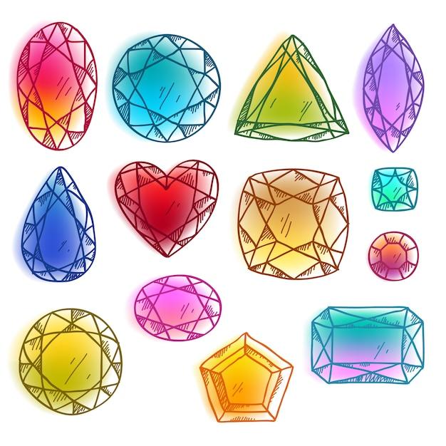 Kleurrijke hand getrokken edelstenen vector illustratie. Premium Vector