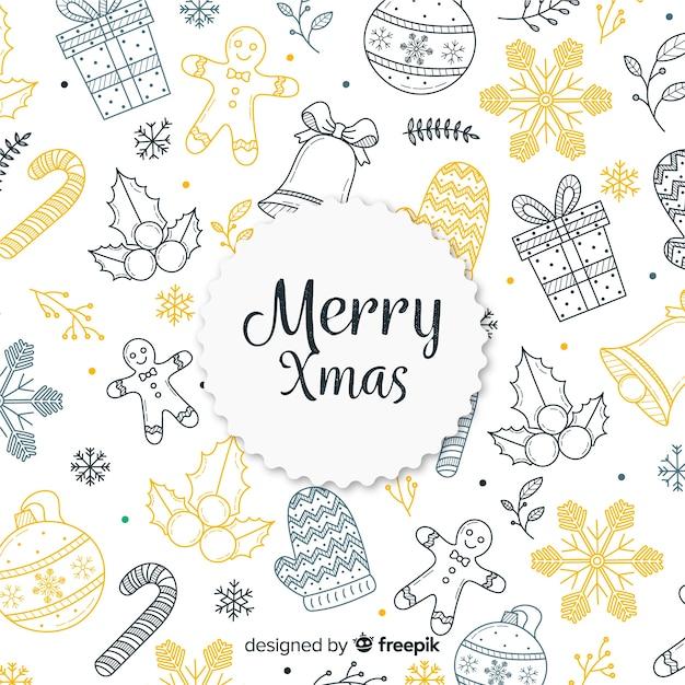 Kleurrijke hand getrokken kerstmis achtergrond Gratis Vector