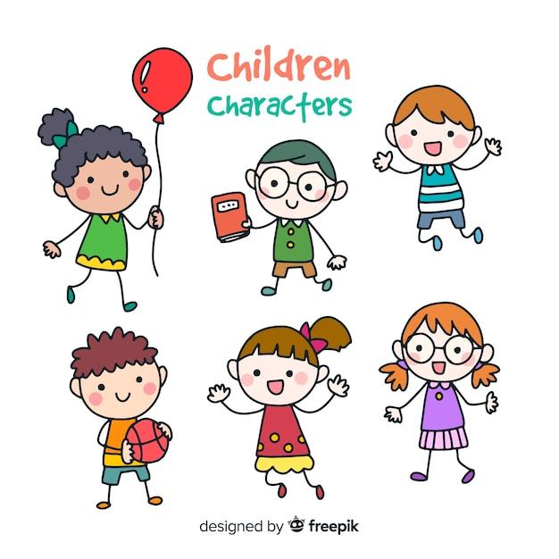 Kleurrijke hand getrokken kindereninzameling Gratis Vector