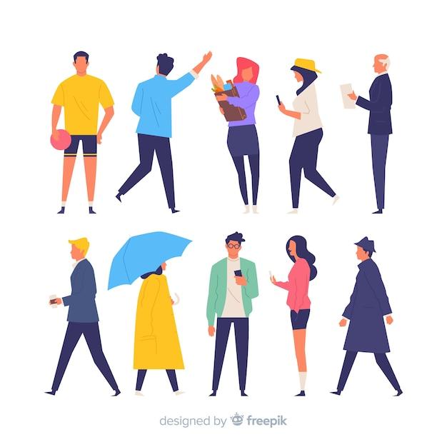 Kleurrijke hand getrokken mensen die verschillende acties doen Gratis Vector