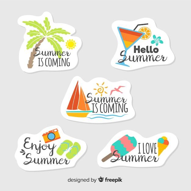 Kleurrijke hand getrokken zomer sticker collectie Gratis Vector