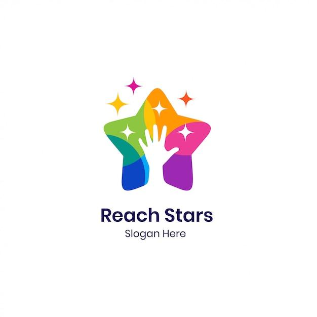 Kleurrijke hand sterren logo sjabloon Premium Vector