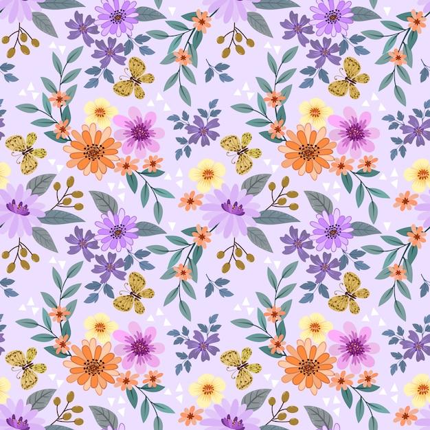 Kleurrijke hand tekenen bloemen naadloos patroon Premium Vector