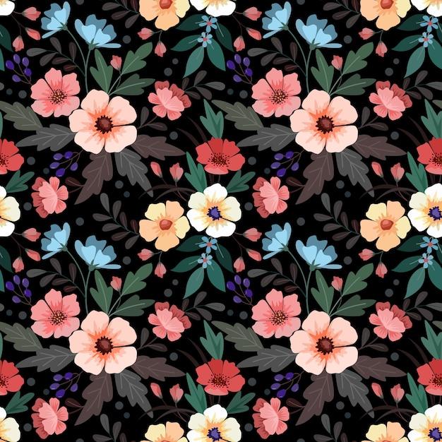 Kleurrijke hand tekenen bloemen naadloze patroon Premium Vector