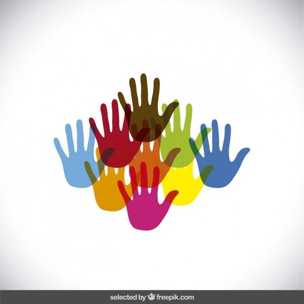 Kleurrijke handen silhouetten Gratis Vector