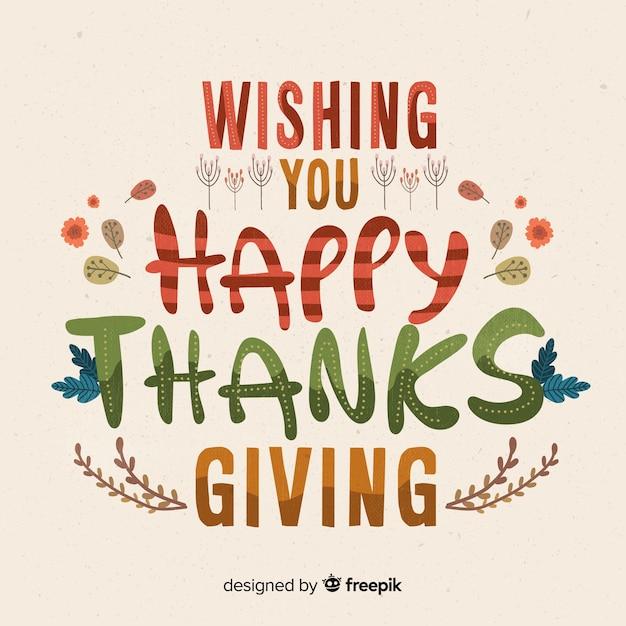 Kleurrijke happy thanksgiving belettering Gratis Vector